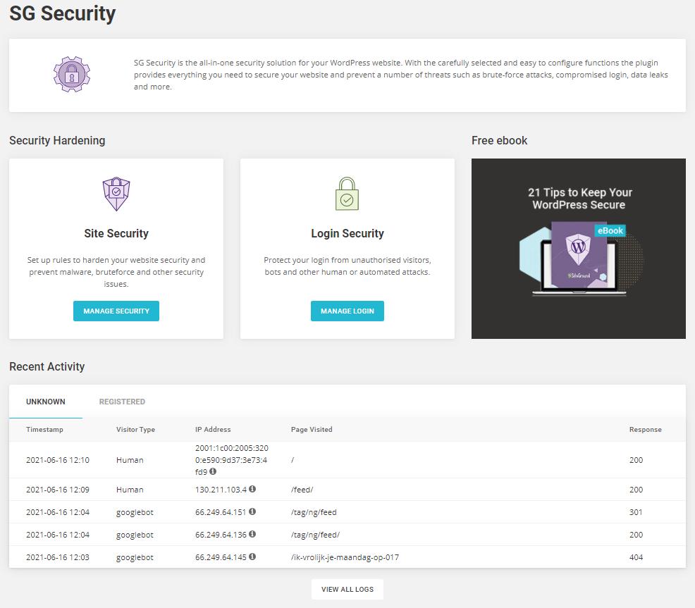 Het SG Security dashboard