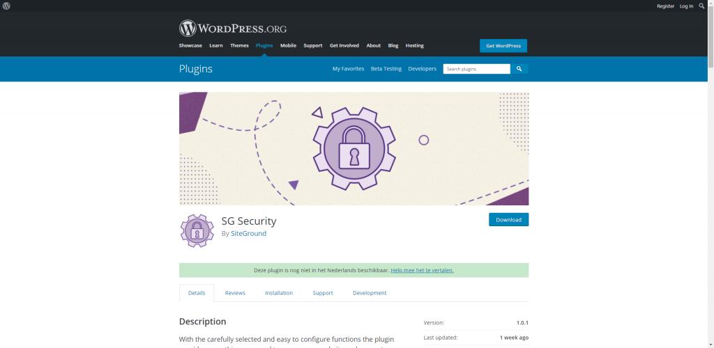De pluginpagina van SG Security