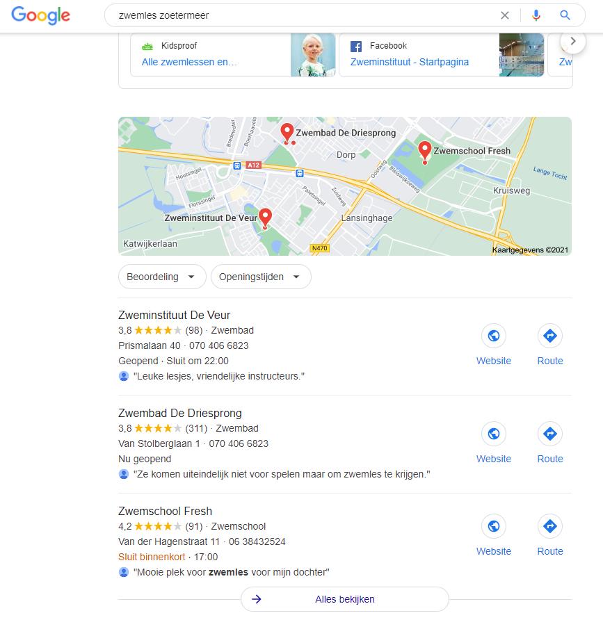 De lokale zoekresultaten in Google