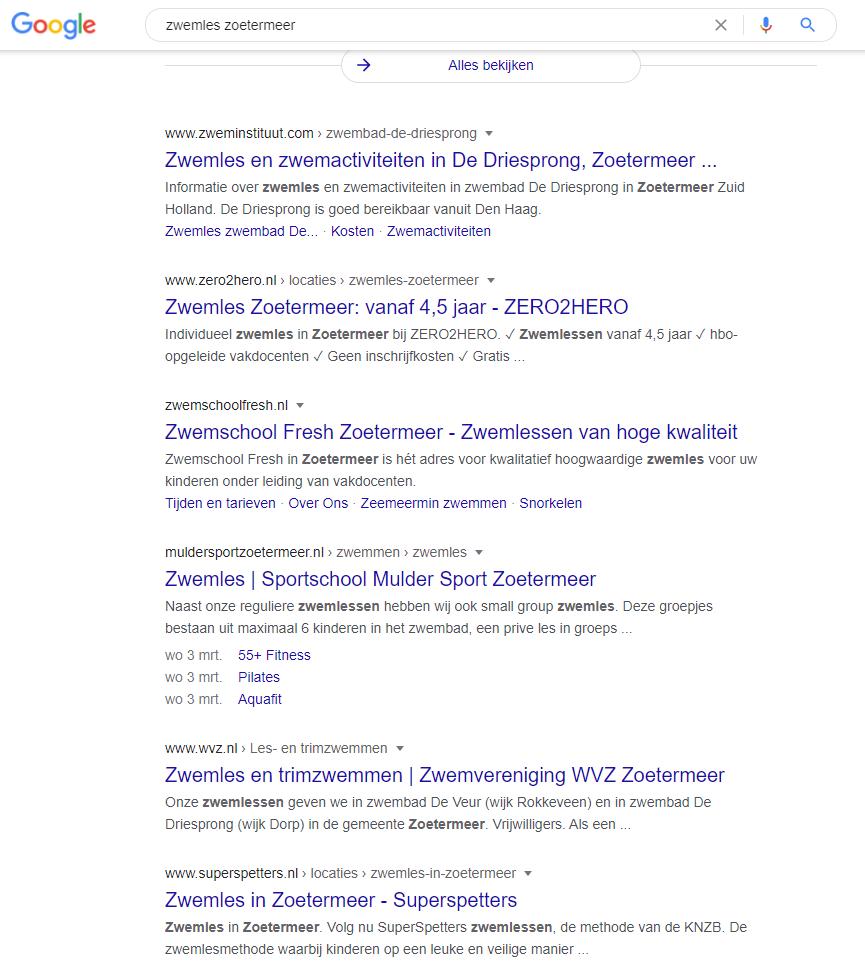 Dit zijn de organische zoekresultaten