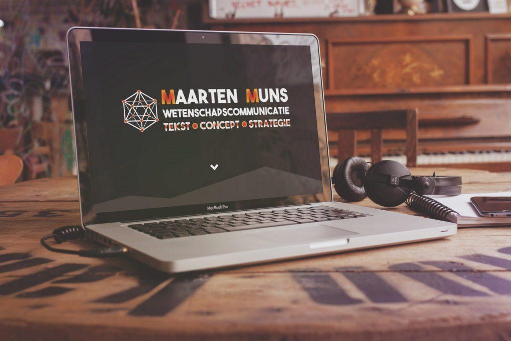 Mockup van de onepager van Maarten Muns op een laptop