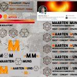 Overzichtssheet met diverse varianten van het logo van Maarten