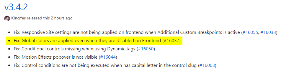 Changelog Elementor 3.4.2