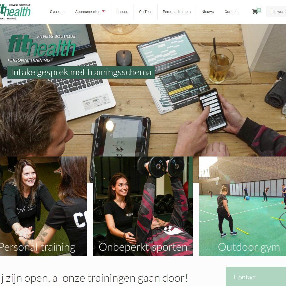 De homepage van de Fithealth-website