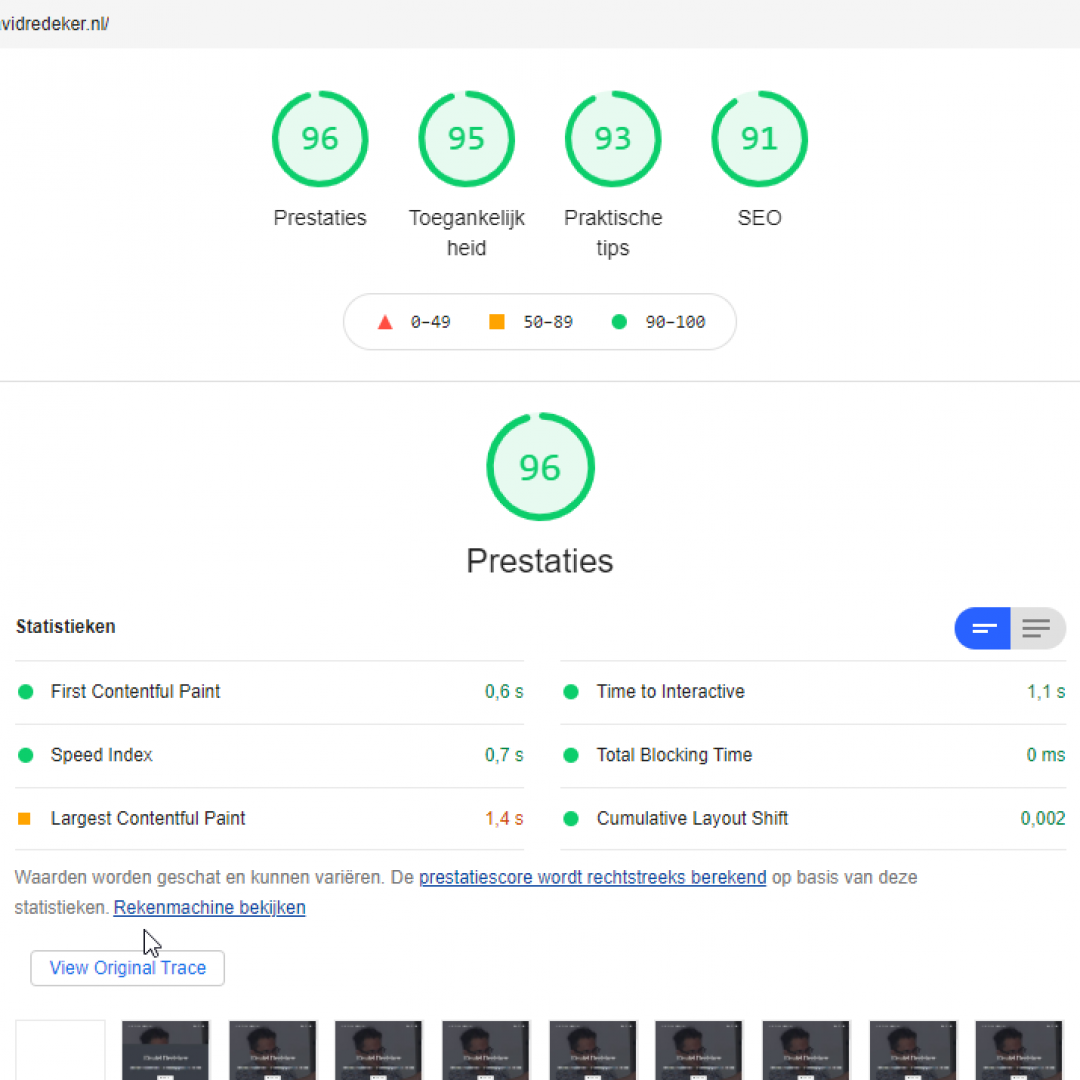 Google Lighthouse resultaten van David Redeker