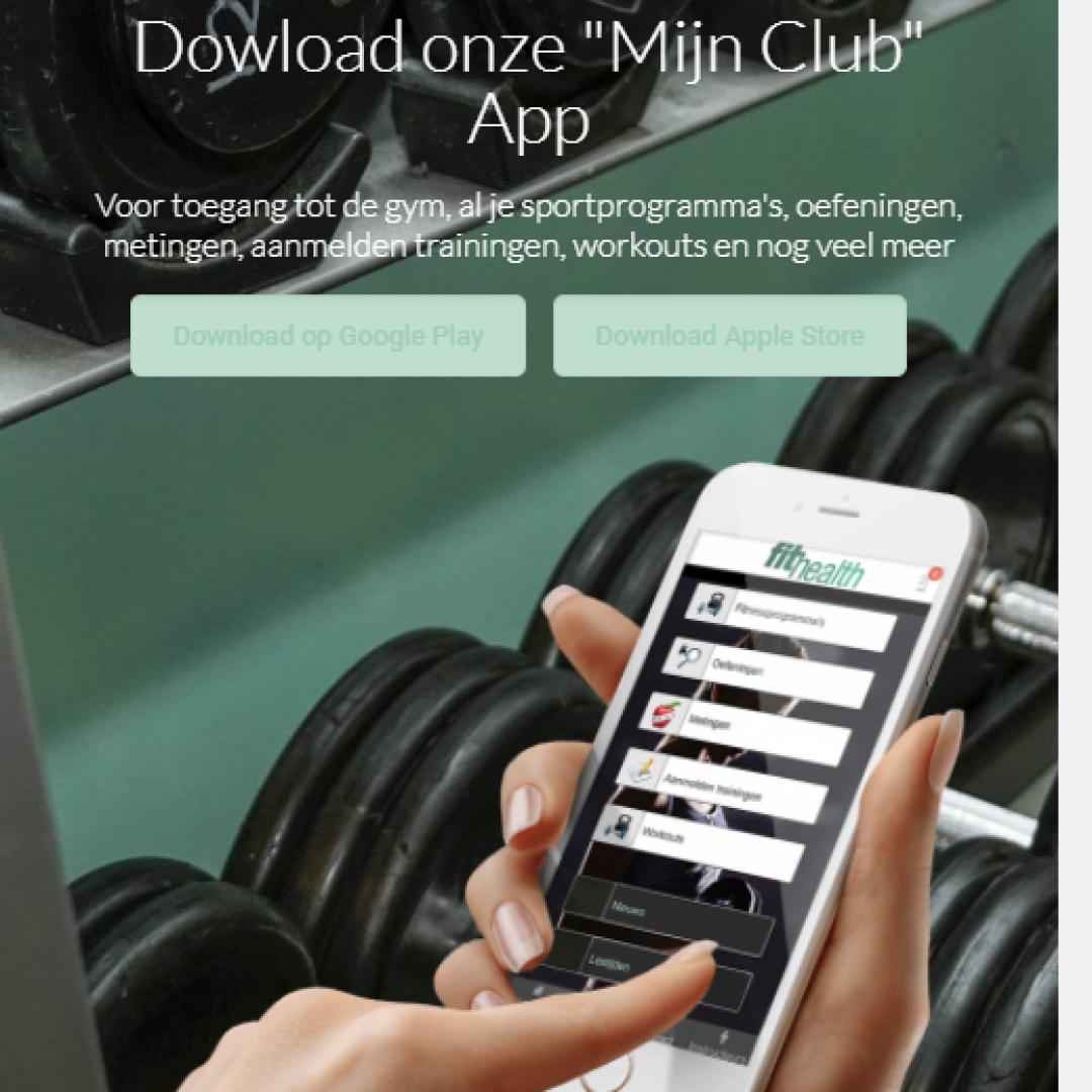 De Fithealth-website op een mobieltje.
