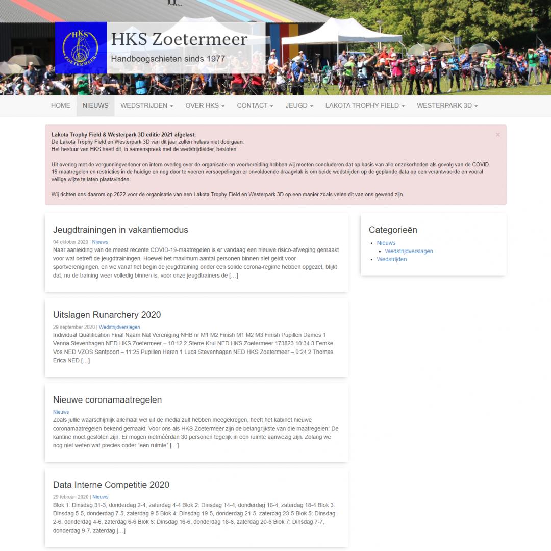 Nieuwsberichten op de site van HKS Zoetermeer