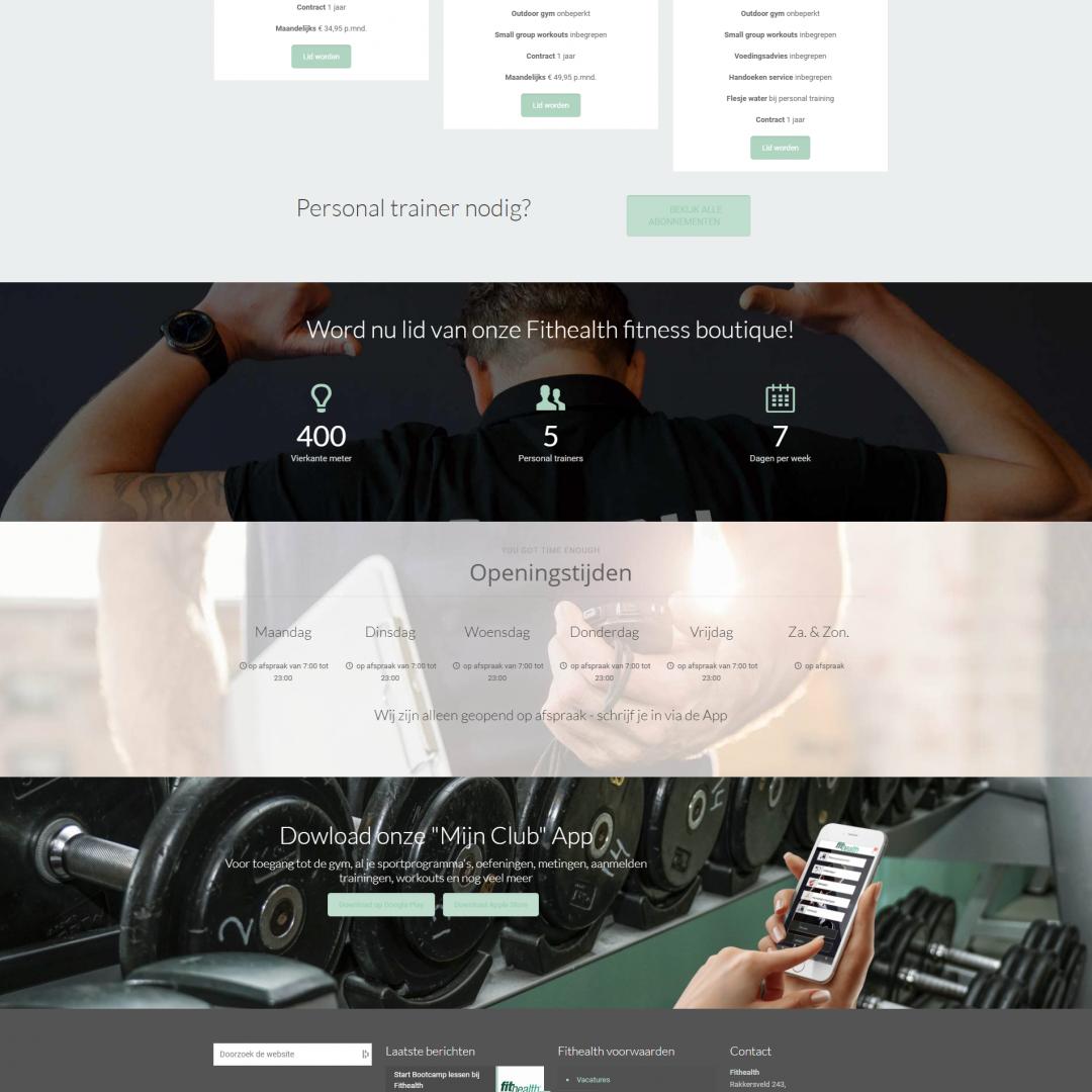 Homepage van de Fithealth-website